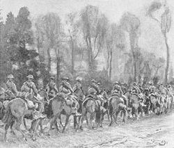 The Fort Garry's on the march; one of Munnings's first pictures, drawn on the Omignon Front in the winter of 1917–18